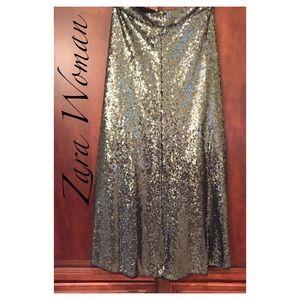 Zara Woman Sequined Maxi Skirt