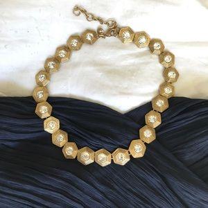 Stunning gold & Swarovski J Crew hexagon necklace