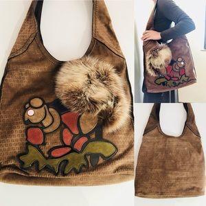 FENDI✨ Collectors squirrel suede hobo bag. EUC