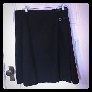 Talbots wrap pleated skirt with buckles 14 EUC