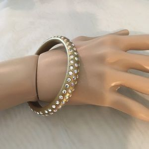 Gold Plastic Bracelet with Rhinestones
