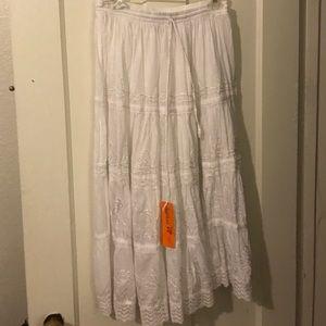 White skirt.