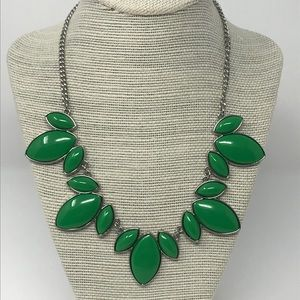 Charming Charlie green silver statement necklace