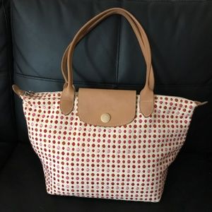 Longchamp Embroidered Polka Dot Tote Bag AUTHENTIC