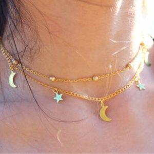 🔥Boho 2 Layer Gold Moon 🌙Stars ✨ Choker Necklace