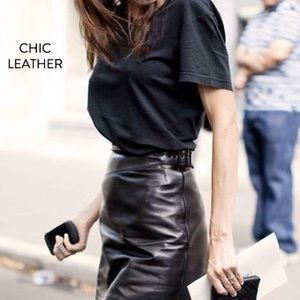 Genuine soft leather skirt