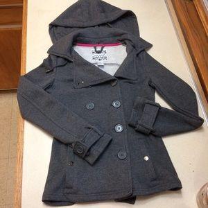 Grey Hooded Fleece Petticoat Jacket