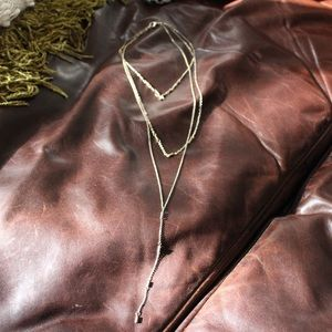 Gold Coated Layered Necklace/Lariat