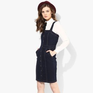 Denim button down dress / dungarees / overalls