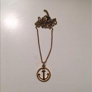 Gold anchor necklace