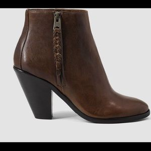 All saints paget leather brown booties