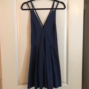 Nasty Gal navy blue fit and flare