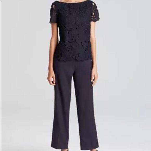 90f52179607c 🎉🎁Tory Burch Navy Jumpsuit with Lace Top Overlay
