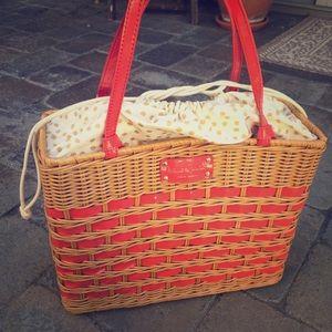 Kate Spade Quinn Edgarton Wicker Basket Bag.
