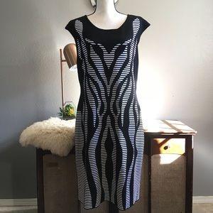Calvin Klein XL black and white printed dress