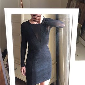 Black mesh sleeve cut out lace dress