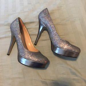 Silver hologram platform heels
