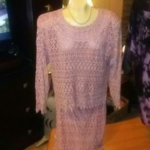 Dresses & Skirts - Beautiful mauve crochet two piece