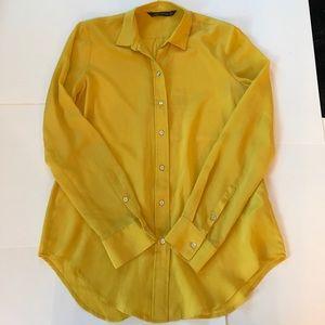 Zara Yellow Button Down Blouse Size S.