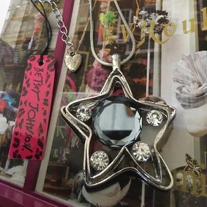 Betsey Johnson Silver Crystal Star Necklace