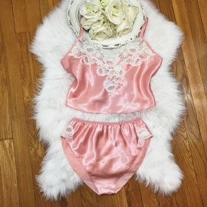 🌸Vtg 80s Silky Lace Pink Sleep Set Small🌸