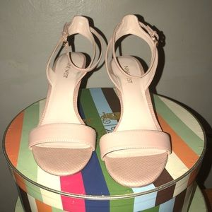 Ankle wrap nude sandals