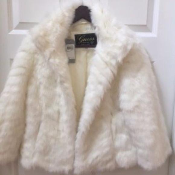 dfb3609e9a0 Guess Womens Large Faux Fur White Coat Jacket