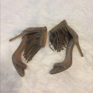 Steve Madden Staarz Ankle Fringe Sandal Heels