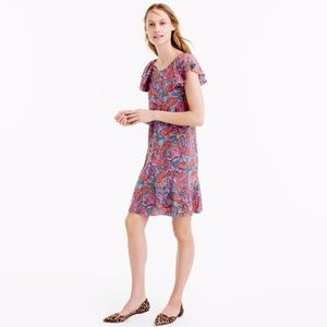 NWT J Crew Ruffled Silk Paisley Dress