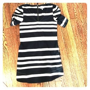 Navy and cream striped Anthropology dress