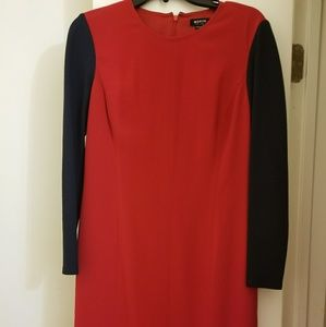 Red and navy dress by Worth New York