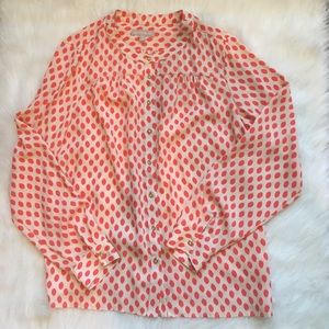 Orange and Cream Speckled Button Down Top