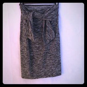 Grey Skirt with Tied Front Accent