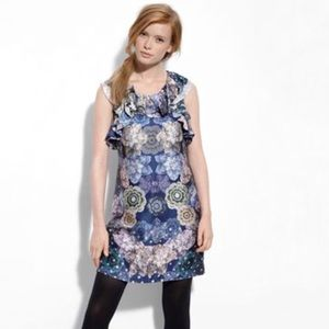 Anthropologie Pearl Reflection Silk Ruffle Dress