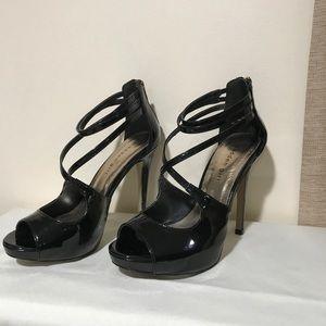Black patent leather stiletto heels