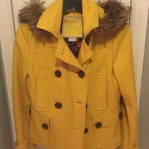 Yellow pea coat with fur hood