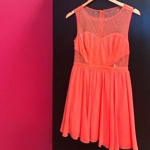 Coral Lace Cutout Dress