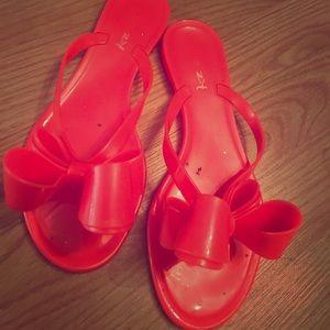 Size 6 hot pink bow flip flops