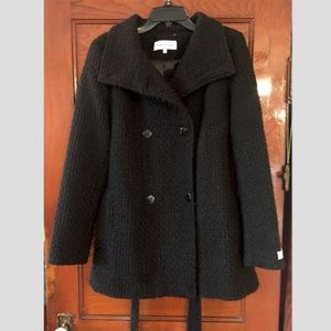Calvin Klein Black Wool Belted Winter Coat