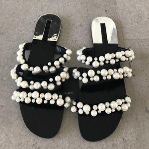 NEW ZARA Pearl Sandals