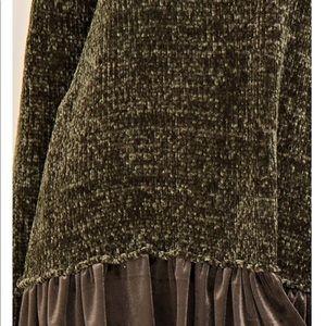 Sweaters - Olive velvet solid Velvet Tunic Sweater.