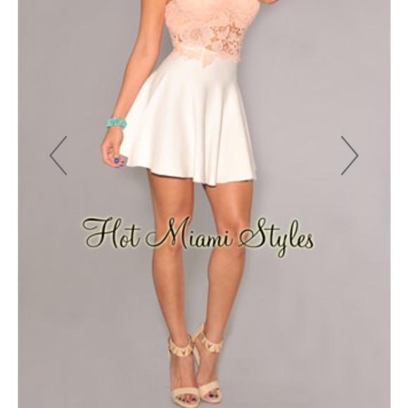 3e765f107 Hot Miami Styles Dresses & Skirts - Hot Miami Styles Off-White Knit Skater  Skirt