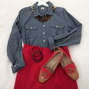 J. Crew perfect shirt in chambray