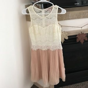 Cream and light pink pleated and lace dress