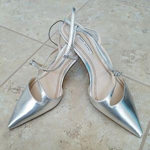 Zara Silver Strap Heels - 41 / 11 US