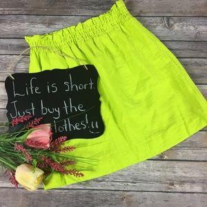 J. Crew lime green mini skirt