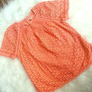 Orange Floral Crochet Detailed Eyelit Top