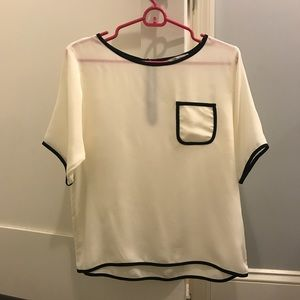 Tucker White/Cream and Black Blouse with Pocket