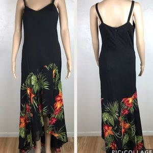 Joseph Ribkoff black floral print high low dress