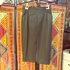 Olive vegan leather pencil skirt.